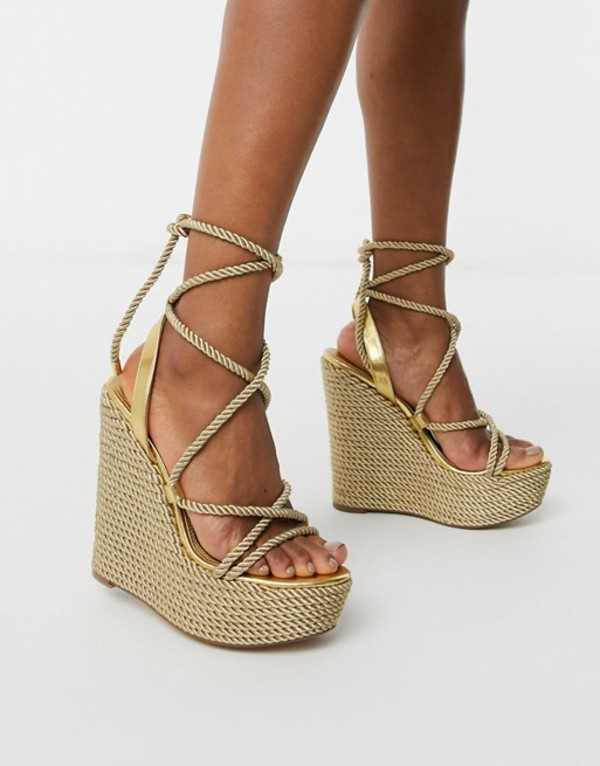 エイソス レディース サンダル シューズ ASOS DESIGN Think tie leg rope wedges in gold Gold