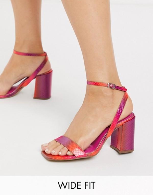 エイソス レディース サンダル シューズ ASOS DESIGN Wide Fit Havana barely there block heeled sandals in rainbow Rainbow
