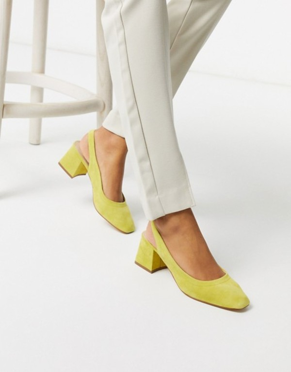 エイソス レディース ヒール シューズ ASOS DESIGN Scottie premium suede slingback block heels in chartreuse Char suede