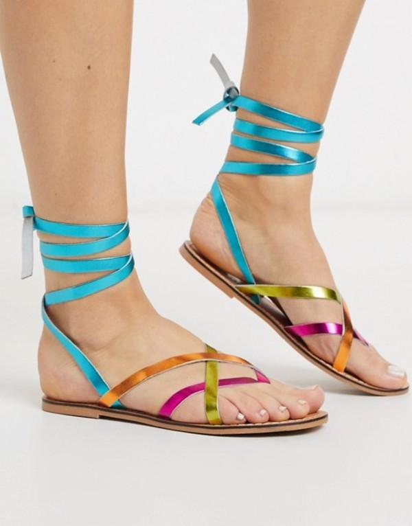 エイソス レディース サンダル シューズ ASOS DESIGN Framed strappy leather sandal in bright multi Bright multi