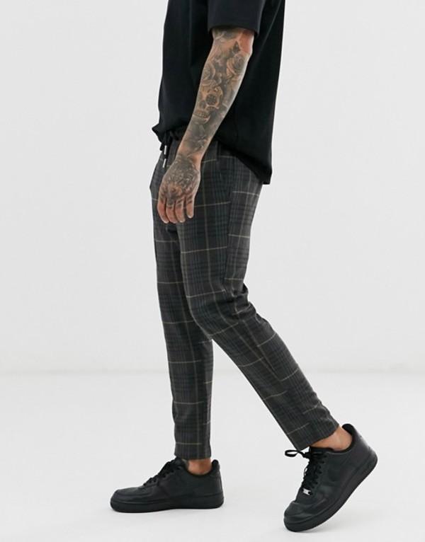 オンリーアンドサンズ メンズ カジュアルパンツ ボトムス Only & Sons drawstring waist check pants in gray Almond