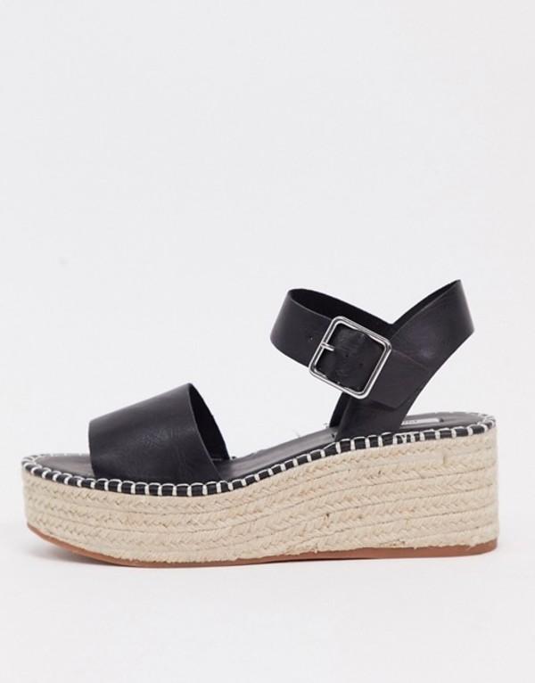 プルアンドベアー レディース サンダル シューズ Pull&Bear flatform espadrille sandals in black Black