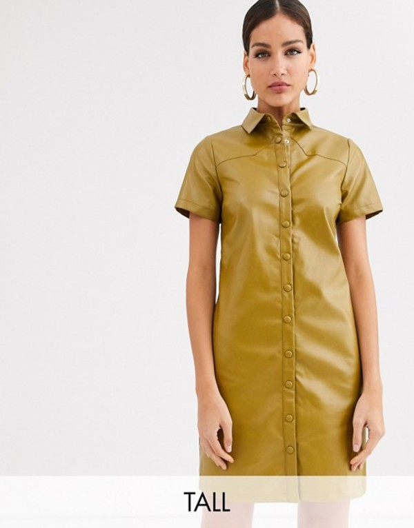 グラマラス レディース ワンピース トップス Glamorous Tall shirt dress in soft faux leather Olive green
