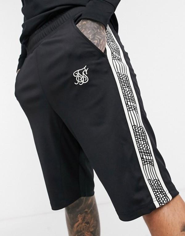 シックシルク メンズ ハーフパンツ・ショーツ ボトムス SikSilk relaxed fit shorts in black with logo side stripe Black