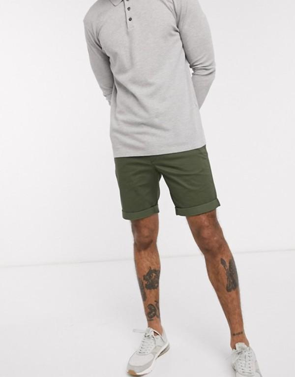 セレクテッドオム メンズ ハーフパンツ・ショーツ ボトムス Selected Homme organic cotton chino shorts in khaki Deep depths
