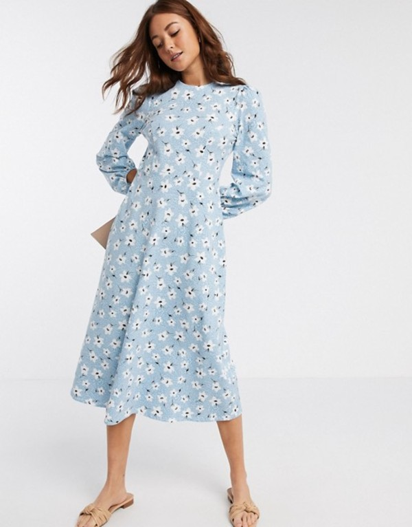 エイソス レディース ワンピース トップス ASOS DESIGN midi smock dress with volume sleeve in daisy print in blue Daisy print