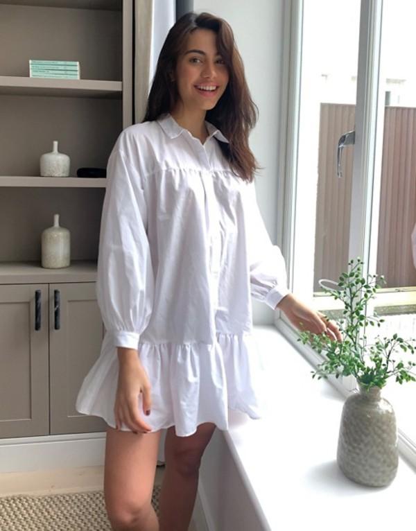 エイソス レディース ワンピース トップス ASOS DESIGN cotton poplin trapeze oversized mini shirt dress in white White