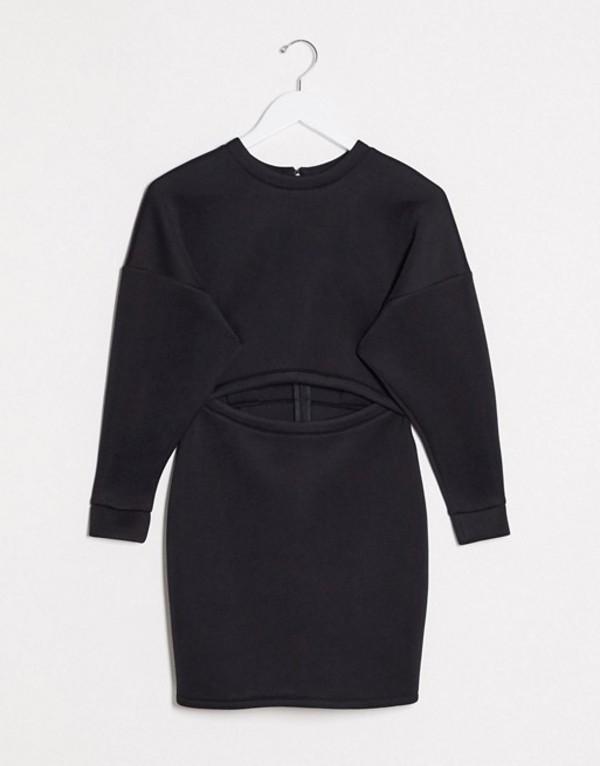 エイソス レディース ワンピース トップス ASOS DESIGN long sleeve sweatshirt cut out scuba mini dress in black Black