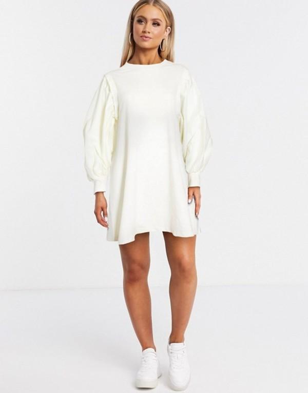 エイソス レディース ワンピース トップス ASOS DESIGN mini sweat dress with puff sleeves in cream Cream