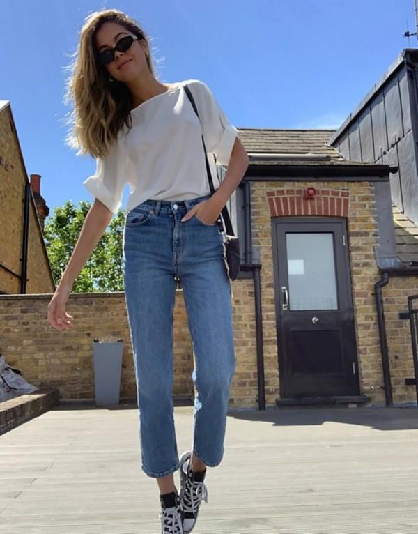 リバーアイランド レディース デニムパンツ ボトムス River Island Blair straight leg jeans in mid blue Mid