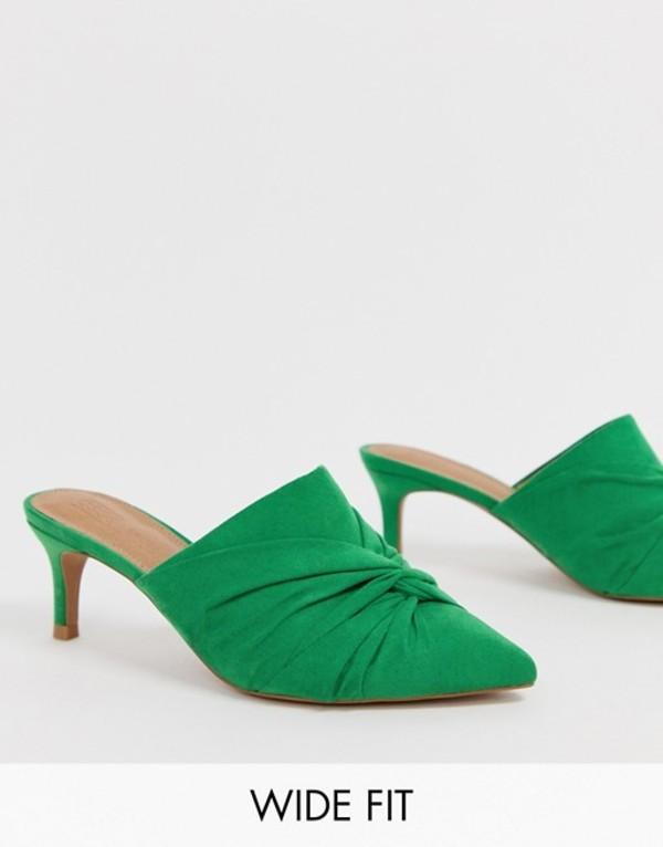 エイソス レディース サンダル シューズ ASOS DESIGN Wide Fit Salary knotted heeled mules Green
