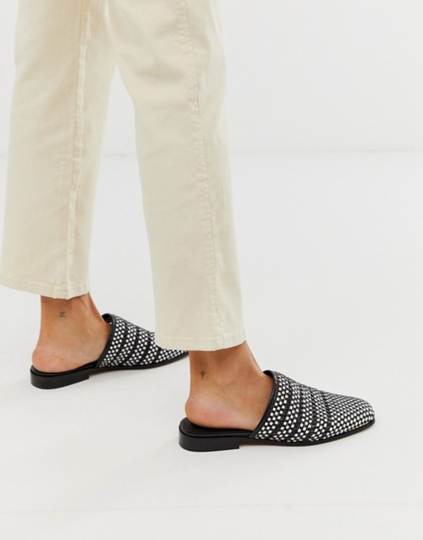 エイソス レディース サンダル シューズ ASOS DESIGN Magnus square toe weave leather mules Black /white weave