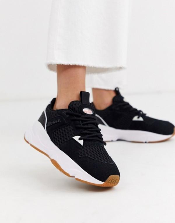 エレッセ レディース スニーカー シューズ Ellesse aspio leather chunky sneakers in black Black