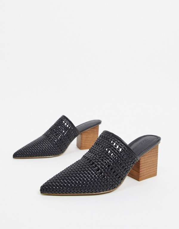 エイソス レディース サンダル シューズ ASOS DESIGN Sienna heeled mules in black weave Black