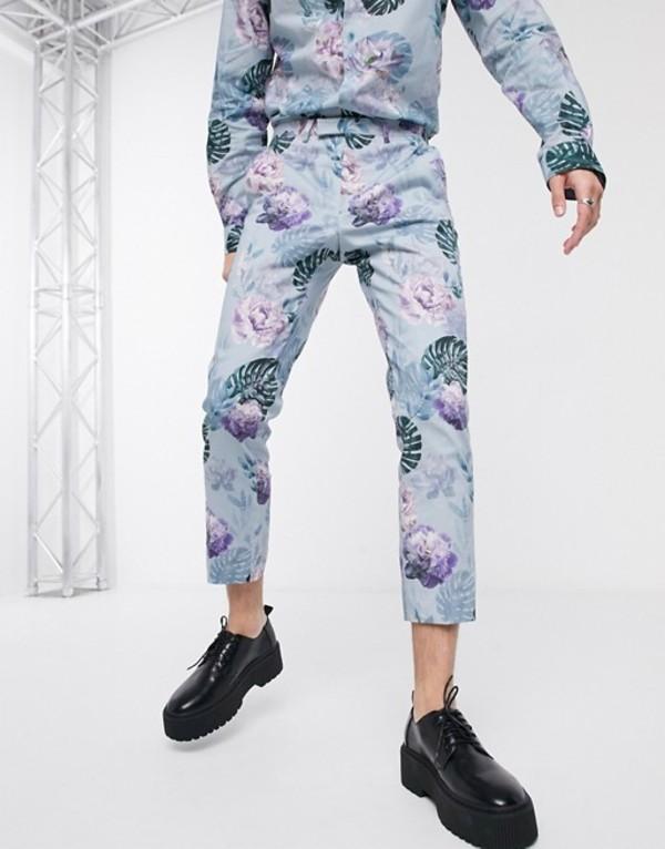 ツイステッド テイラー メンズ カジュアルパンツ ボトムス Twisted Tailor pants in blue floral print Blue