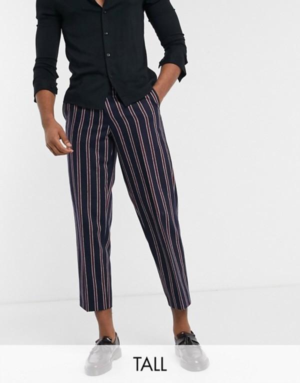 ツイステッド テイラー メンズ カジュアルパンツ ボトムス Twisted Tailor TALL pants with red stripes in navy Navy