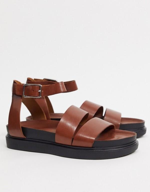 バガボンド レディース サンダル シューズ Vagabond Erin double strap leather flat sandals in tan Cognac