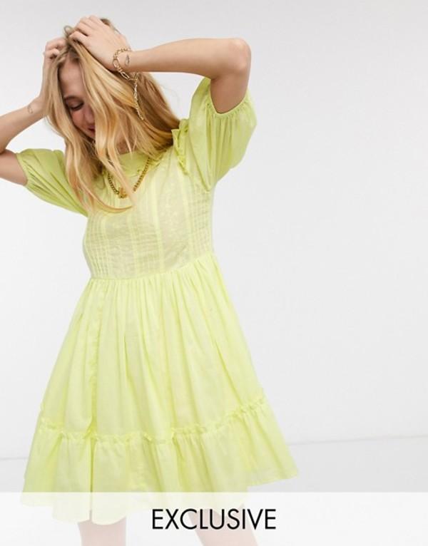 リクレイム ヴィンテージ レディース ワンピース トップス Reclaimed Vintage inspired high neck dress with pin tuck and embroidery in yellow Yellow