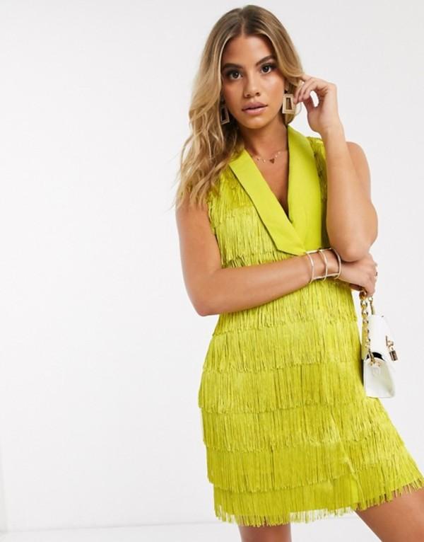 ラビッシュアリス レディース ワンピース トップス Lavish Alice sleeveless fringe tailored blazer dress in yellow Acid yellow