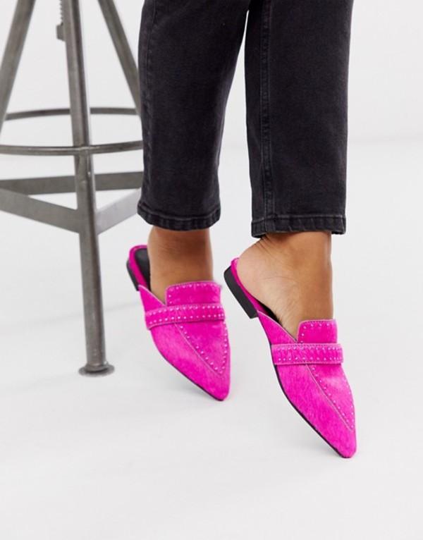 エイソス レディース サンダル シューズ ASOS DESIGN Maximum studded leather pointed mule in neon pink Pink pony