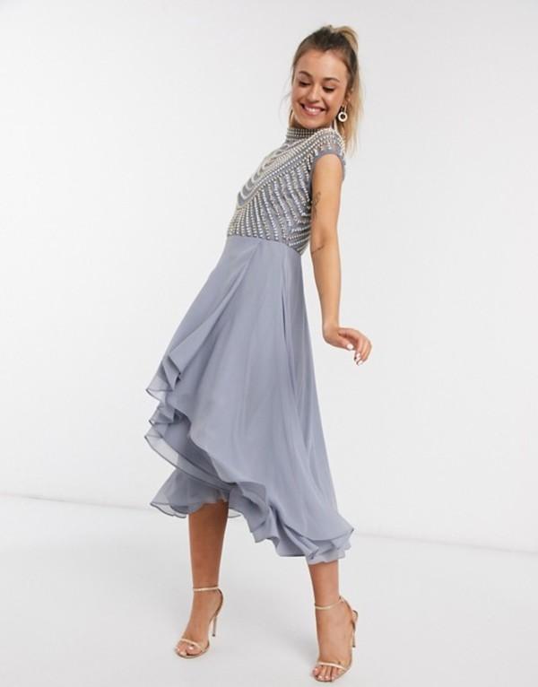 エイソス レディース ワンピース トップス ASOS DESIGN midi linear embellished bodice dress with high neck and wrap skirt Blue
