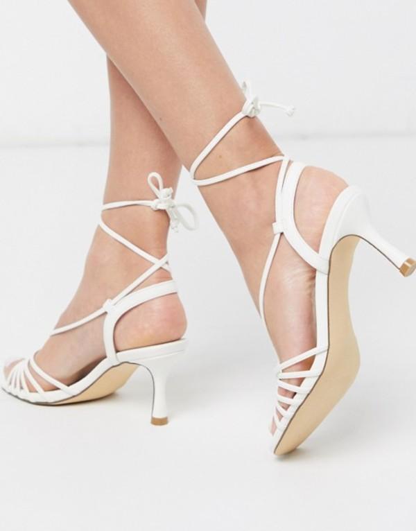 トリュフコレクション レディース サンダル シューズ Truffle Collection strappy mid heeled sandals in white White pu