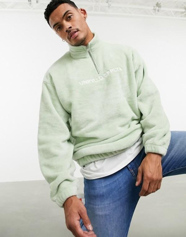 エイソス メンズ シャツ トップス ASOS DESIGN oversized half zip sweatshirt in super soft fleece in light green with embroidery Ocean wave
