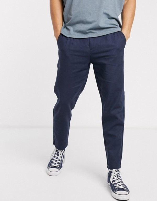 オンリーアンドサンズ メンズ カジュアルパンツ ボトムス Only & Sons drawstring linen mix pants in navy Dress blues