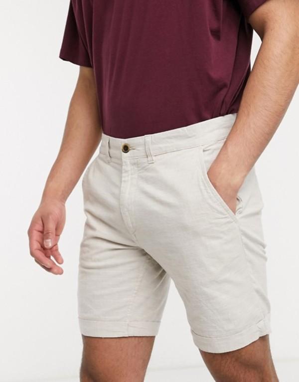 ジャック アンド ジョーンズ メンズ ハーフパンツ・ショーツ ボトムス Jack & Jones Intelligence linen mix shorts in stone Silver birch