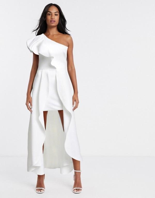 トゥルーバイオレット レディース ワンピース トップス True Violet one shoulder high low maxi dress in ivory Ivory