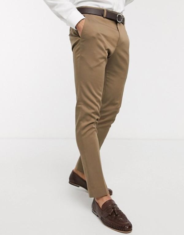 リバーアイランド メンズ カジュアルパンツ ボトムス River Island skinny suit pants in beige Beige