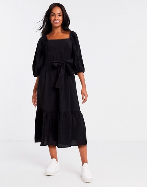 ニュールック レディース ワンピース トップス New Look square neck tie waist midi dress in black Black