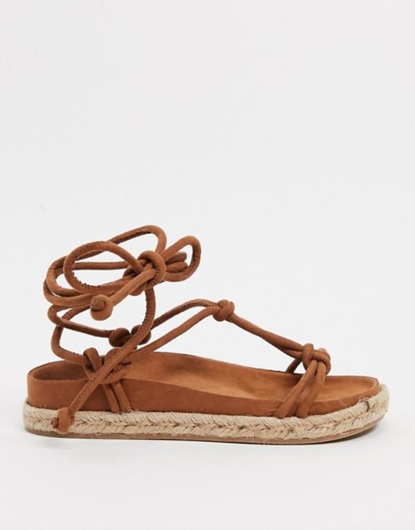 プルアンドベアー レディース サンダル シューズ Pull&Bear faux suede flatform sandals in tan Tan