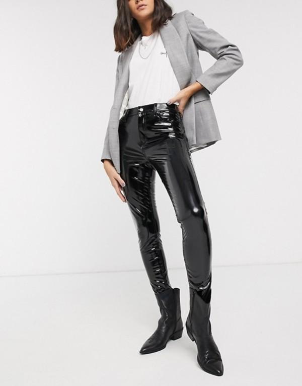 トップショップ レディース カジュアルパンツ ボトムス Topshop vinyl skinny pants in black Black