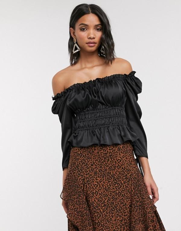 トップショップ レディース シャツ トップス Topshop shirred blouse in black Black