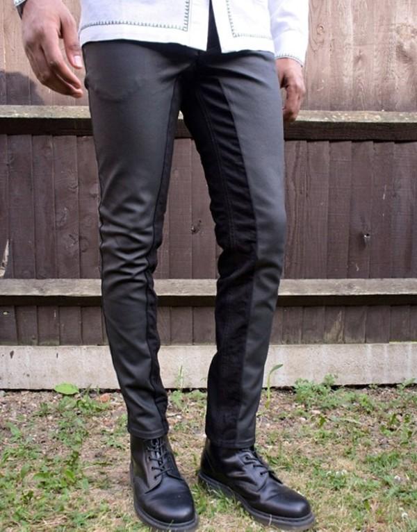エイソス メンズ デニムパンツ ボトムス ASOS EDITION cut and sew leather look jeans Black