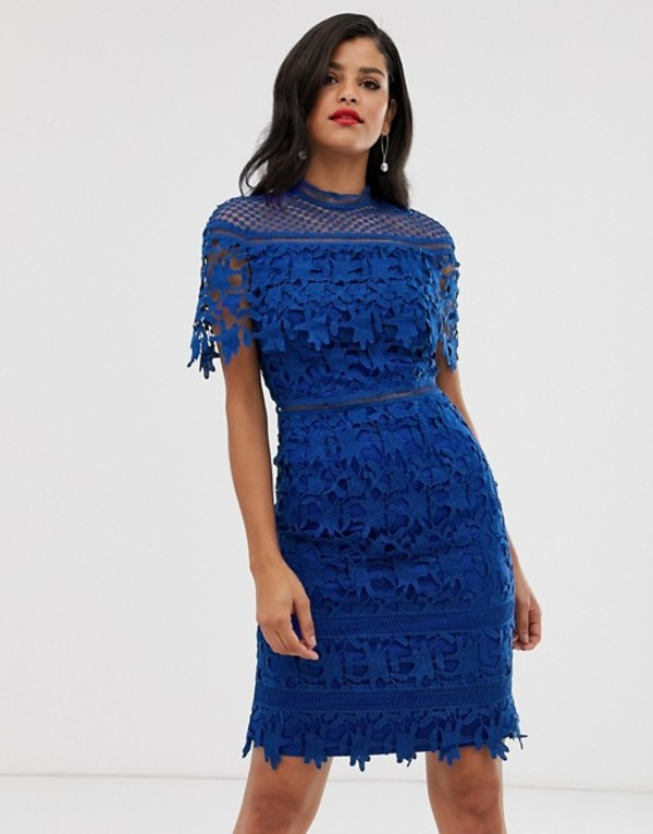 チチロンドン レディース ワンピース トップス Chi Chi London Tall lace high neck mini dress in cobalt Cobalt