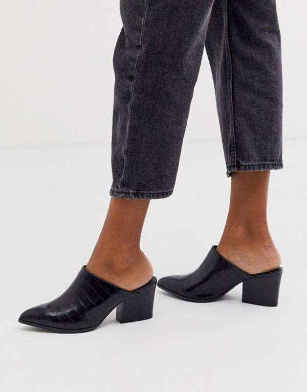 キューピッド レディース サンダル シューズ Qupid pointed heeled mule in black croc Black