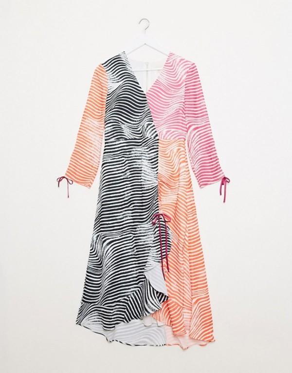 テッドベーカー レディース ワンピース トップス Ted Baker wizzoh zebra mashup rouche detail midi dress Ivory