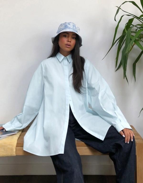 モンキ レディース シャツ トップス Monki Gerri organic poplin cotton oversized blouse in light blue Light blue