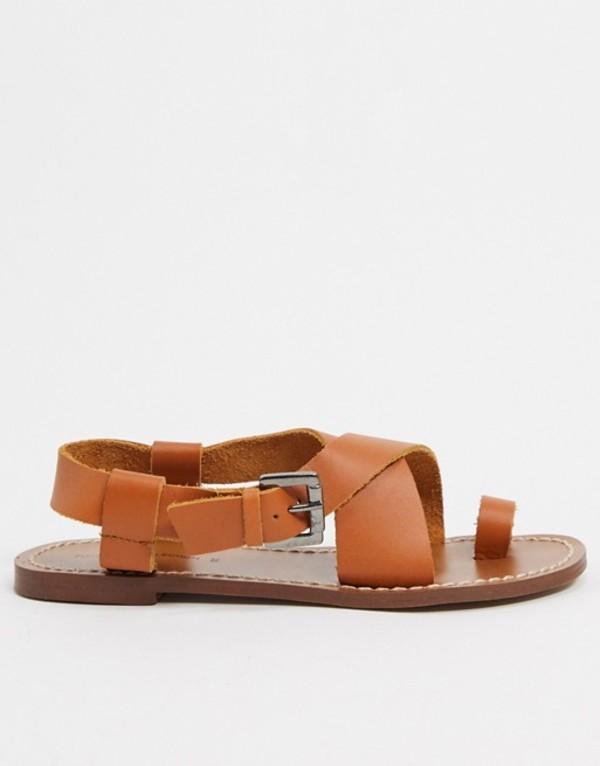プルアンドベアー レディース サンダル シューズ Pull&Bear flat leather sandal in tan Tan