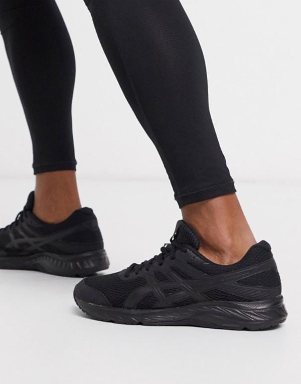 アシックス メンズ スニーカー シューズ Asics Running gel contend sneakers in black Black