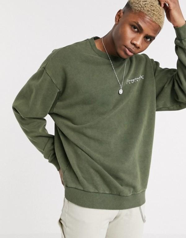 エイソス メンズ シャツ トップス ASOS DESIGN oversized sweatshirt in washed khaki with print Washed khaki