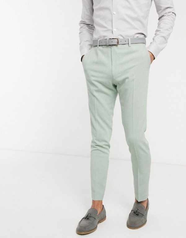 エイソス メンズ カジュアルパンツ ボトムス ASOS DESIGN wedding skinny suit pants in crosshatch in mint green Green