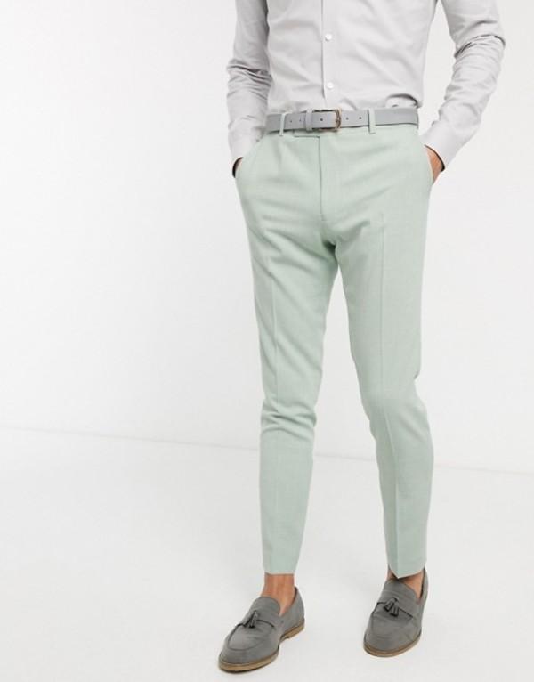 エイソス メンズ カジュアルパンツ ボトムス ASOS DESIGN wedding skinny suit pants in crosshatch in mint green Green