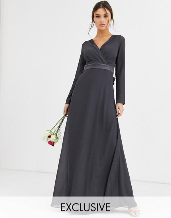 ティエフエヌシー レディース ワンピース トップス TFNC Bridesmaid long sleeve maxi dress with satin bow back in gray Gray
