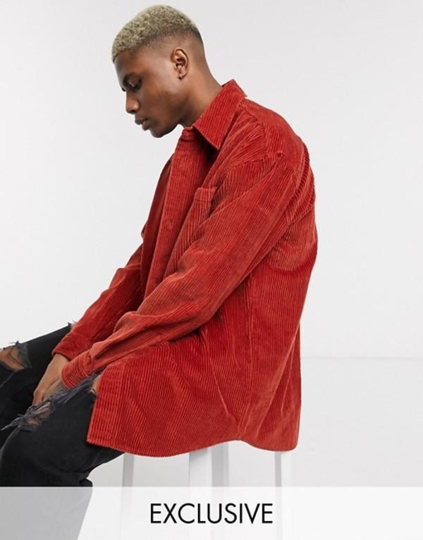 リクレイム ヴィンテージ メンズ シャツ トップス Reclaimed Vintage cord shirt in long sleeve Rust