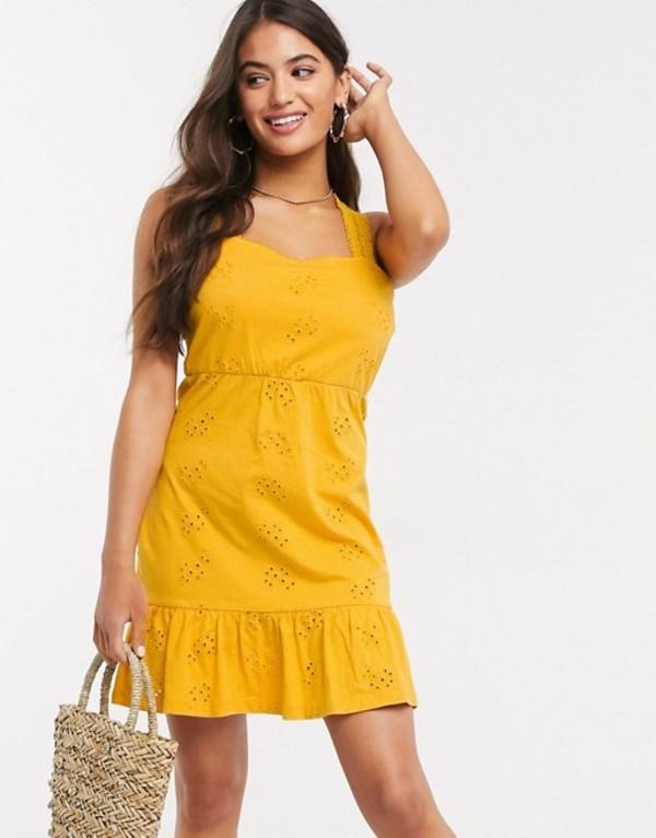 エイソス レディース ワンピース トップス ASOS DESIGN cross back tiered broderie mini dress in yellow Marigold