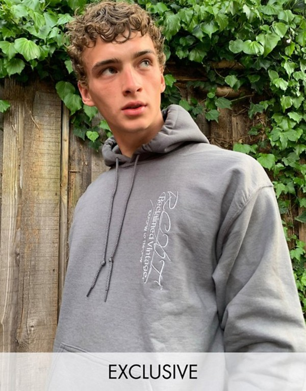 リクレイム ヴィンテージ メンズ パーカー・スウェット アウター Reclaimed Vintage inspired hoodie with logo embroidery in washed charcoal Washed charcoal