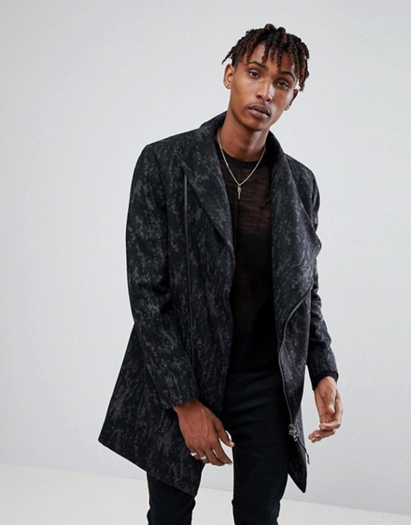 レリジョン メンズ コート アウター Religion Coat With Asymmetric Zip In Camo Black/grey